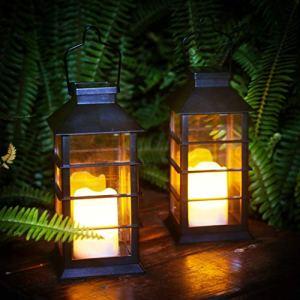 Lanterne solaire LED Bougie sans flamme Bougie de jardin Lanterne solaire d'extérieur 2pcs Lumière de jardin étanche Cadeau de jardin Décoration solaire d'extérieur Table, Mariage, Fête (Black)