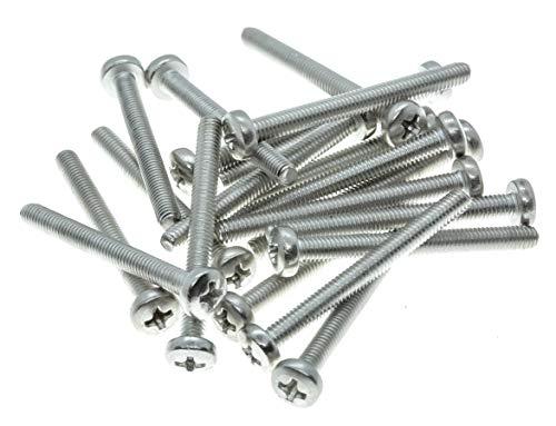Lot de 20 vis à métaux à tête cylindrique Phillips M4 (4 mm x 40 mm) – En acier inoxydable A2 – DIN 7985