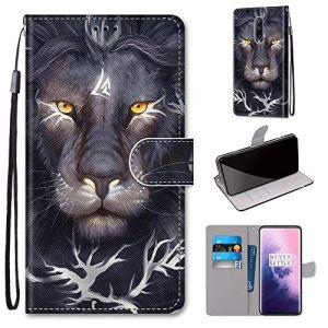 Miagon PU Cuir Coque pour OnePlus 7 Pro,Coloré Motif Portefeuille Étui Housse Cover avec Stand Support Porte-Cartes de Crédit,Lion Roi