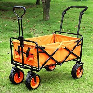 NEHARO Chariot Pliant Wagon Camping en Plein air Chariot Chariot Chariot de Plage avec poignée Confortable et des pneus Larges Chariots de Jardin Wagons (Color : Orange, Size : 85×57.5x100cm)