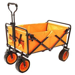 NEHARO Chariot Pliant Wagon Portable Pliant Chariot extérieur Panier 4 Roues for Camping Chariots de Jardin Wagons (Color : Orange, Size : 100x50cm)
