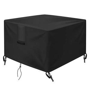 OKPOW Housse de protection imperméable pour foyer, carrée 600D, anti-UV, très résistante et indéchirable, en tissu Oxford, noir (71 x 71 x 63 cm)