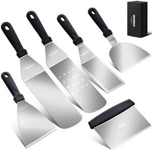 Overmont Spatule pour Barbecue Ensemble d'accessoires pour Plaque chauffante BBQ spatule ustensiles Set en Acier Inoxydable 6pcs pour extérieur et intérieur