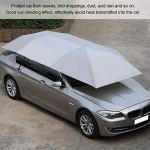 Qiilu Tente de parapluie de voiture, parapluie de voiture plié portable tissu Oxford extérieur anti-UV abri solaire à l'épreuve du soleil protéger la couverture(argent)