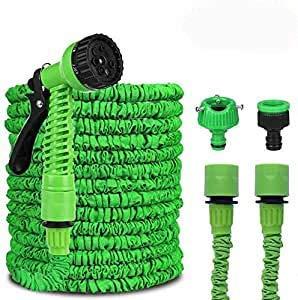 QNODO Tuyau d'Arrosage Extensible, Tuyau d'eau télescopique 15M / 50FT avec 8 Fonctions Pistolet, pour Jardinage, Laver la Voiture, Arroser, Baigner Animal, Camping etc(Anti-Fuite – Léger – Vert )