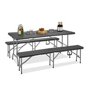 Relaxdays Table et Banc pour Tente, Pliable, Camping, siège bière, en Plastique, Effet rotin 73,5×178,5x74cm, Gris