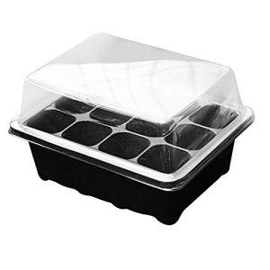 SPLLEADER 12 Trous Nursery Pots Plateau à semis Semis de démarrage Plateau Jardin Nursery Pots avec dôme et Home Base Garden Grow Box Fleur Plante (Color : Black)
