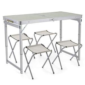 Sunkorto Table de pique-nique pliante pour 4 personnes avec 4 tabourets – 1,2 m – En alliage d'aluminium – Hauteur réglable – Portable et légère – Pour camping, salle à manger, barbecue