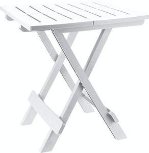 Table Pliante Adige en Blanc – Petit Jardin ou Une Table de Camping – Parfait comme Table d'appoint