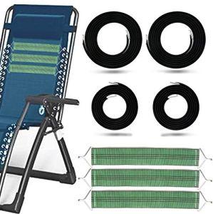 tEEZErshop elastique lafuma, Remplacement Corde chaise longue lafuma avec Embouts pour Chaise zéro gravité, 4 Lacets Elastiques pour fauteuil lafuma avec 3 bandes de renfort
