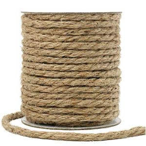 Tenn Well Corde de jute naturelle épaisse 6 mm pour griffoir à chat ou jardinage Brun