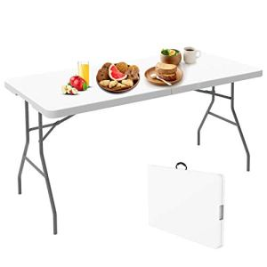 Todeco – Table Pliante,Table en Plastique Robuste, Table Pliante Transportable, 152 x 71.5 cm,Table en Plastique, Matériau: HDPE, Charge maximale: 100 kg,Blanc