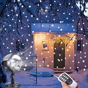 Ukeer extérieur Snow Flurry lampe de décorations de Noël lumières Flocon de neige blanc Snow Falling Vidéoprojecteur lumière avec télécommande Étanche pour les vacances de Noël, les fêtes d'Halloween