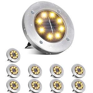 Ulocool Lot de 10 lampes solaires de jardin pour extérieur, IP65, étanche en acier inoxydable pour lawn, patinage, patio, jardin, cour, allée (blanc chaud)