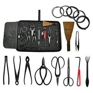 Voilamart Lot de 10 outils à main en acier au carbone pour bonsaï, ciseaux et brosses avec bobines, fils en acier au carbone, outils multifonctions pour l'extérieur pour le camping et le jardin