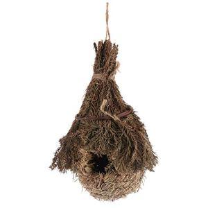 VORCOOL Nid de Cages à Oiseaux en Forme de Larme Nid d'herbe Perchée Tissée à La Main Cabane d'oiseaux Suspendue Écologique Maison D'oiseau Suspendue Lieu de Repos Confortable pour Pinson