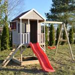 WENDI TOYS Maison d'enfants en bois avec toboggan et balançoires 3-7 ans