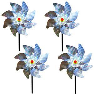 Wenxiaw Effaroucheur Oiseaux Decoration Jardin Pic Anti Pigeon Dissuasion Anti-Oiseaux réfléchissant pour Moulin à Vent Réfléchissant pour Protéger Le Jardin, Verger et Cour Intérieure (Lot de 4)