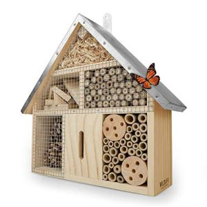 WILDLIFE FRIEND | Hôtel à Insecte en Bois avec Toit en Métal – Maison Insectes, sur Pied, Hotel a Insectes a Construire pour Abeilles, Coccinelles, Papillons et Autres Insectes