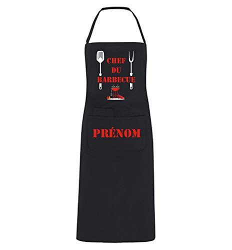 YONACREA – Tablier de Cuisine Personnalisable – Chef du Barbecue – Noir