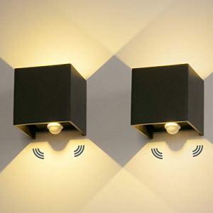2 Pièces LED Applique Murale Exterieur 12W Avec détecteur de movement 3000K Luminaire Exterieur Murale IP65 Lampe Murale Avec Angle de Faisceau Réglable Up Down Design Intérieure/Extérieure
