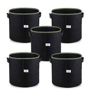 5Gallon / 20L Sac de Croissance Plante Pots en Tissu, 5 Pièces Indoor Planter Sacs pour Culture de Fleur Légumes Patate, Premium Respirant Naturel Matériau Non-Tissé Renforcé