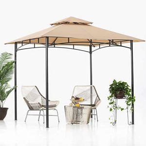 ABCCANOPY Tonnelle de jardin à double toit pour terrasse – 2,4 x 2,4 m – Pour l'ombre et la pluie – Kaki