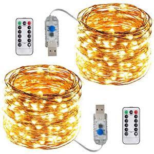 ACDE 2 Pièces Guirlande Lumineuses USB Alimentées 10M/100 LED avec Télécommande pour Décoration Noël Jardin Extérieure Intérieure – Blanc Chaud