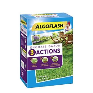 ALGOFLASH Engrais Gazon 3 Actions, Jusqu'à 100 m², 4 kg, ETRIA100