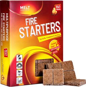 Allume-feu 160 carrés Démarreur au charbon pour barbecue, feu de camp, cheminée, foyers, fumeurs. Allume-feu pour poêle à bois et à granulés.