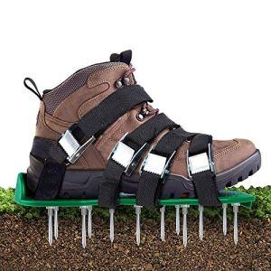 Aunus Aérateur de gazon avec 5 sangles réglables et métal Taille universelle Convient pour chaussures ou bottes
