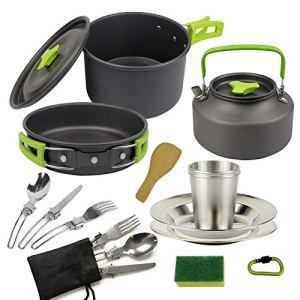 BAIYAN Camping Théière Set Pot Set Portable Pique-Nique Cuisinière Plaque de dîner Combinaison Pochette Pique-Nique et empilablepots et casseroles (Color : Green)