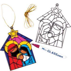 Baker Ross Décoration à effet vitrail surle thème de la Nativité (Lot de 4) – Loisirs créatifs de Noël pour enfants