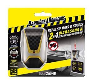 BARRIERE A RONGEURS Répulsif Rats et Souris 2 en 1 Ultrasons & Electromagnétique, Jusqu'à 200 m², BARSONICMAX