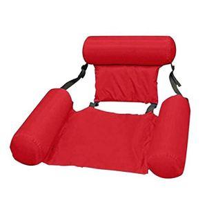 Binghotfire Chaise de Flotteur de Piscine Chaise de hamac d'eau de Piscine de Plage Pliable Pliable d'été (Rose Rouge Ajouter Un Panneau de Mousse)