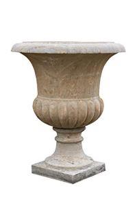 Biscottini Vase festonné vieilli en pierre L 67 x P 67 x H 80 cm