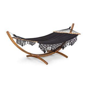 blumfeldt Bali Swing – hamac, balançoire, Structure en Bois de mélèze, Tissu 65% Coton et 35% Polyester, Charge Max : 160 kg, Taille: 200×150 cm (LxP) – Noir