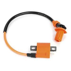 Bobine d'allumage Baverta-bobine d'allumage automatique modifiée bobine d'allumage orange noire bougies d'allumage 6 broches A7TC adaptées pour GY6 50CC 125CC 150CC