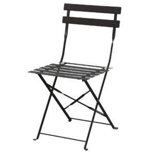 Boléro gh553Trottoir 2x style Chaises en acier pour l'intérieur et extérieur, 800mm x 387mm x 471mm, noir