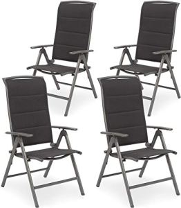 BRUBAKER Milano Lot de 4 Chaises de Jardin Pliante – Chaises à Dossier Haut réglable en 8 Positions – Rembourré – Imperméable – Aluminium – Gris Argenté