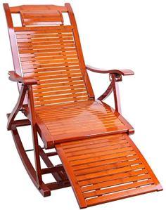 Chaise à bascule Pliant chaise en bambou réglable Balcon Lounge Portable Peluche en plein air Chair de jardin,Bamboo