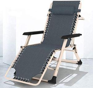 Chaise longue Chaise de salon décontracté Chaise de bureau Chaise de jardin de jardin pliante réglable, avec des oreillers, utilisé dans la piscine,Grey