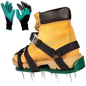Chaussures D'aérateur De Pelouse avec Gants, Sangle Triangulaire Plus Stable, Chaussures À Boucles Métalliques Robustes, Outils Parfaits pour Une Pelouse Saine