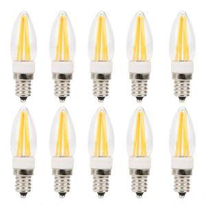 【Christmas Gift】Matériel PC Ampoule de candélabre à LED, lampes à filament long résistant à la chaleur 3W AC230V E12, pour lumières intégrées Ampoules de paysage de voiture Éclairage d'armo