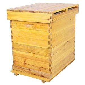 𝐂𝐚𝐝𝐞𝐚𝐮 𝐝𝐞 𝐍𝐨𝐞𝐥 Cosiki Boîte de Ruche à Miel Durable Kit de boîte d'apiculture à 10 Cadres Outils d'apiculture en Bois de cèdre La boîte à couvain de Ruche étanche à l'humidité Rend Le Miel
