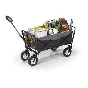 EASYmaxx Chariot à main pliable | chariot de transport avec sac de rangement, essieu et cadre renforcés | cadre en acier peint par poudrage [capacité de charge : 80 kg]