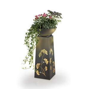 EASYmaxx Colonne de Plantes LED | Colonne décorative avec bac à Plantes env. Ø 32 cm | Fonction minuterie intégrée LED Blanc Chaud | pour l'intérieur et l'extérieur [68 cm] (Aspect béton)