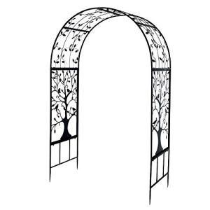 Ejoyous Arche de Plantes Grimpantes, Arche à Rosiers Tonnelle en Fer Arche de Jardin pour Fleurs Plantes Arche de Patio pour La Décoration de Cérémonie Mariage Fête Jardin Extérieur Porte 2,14m