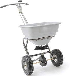 Épandeur portable robuste-tenue à la main de la fertilisation à la main de la machine de semences de semences en métal avec couvercle de pluie,Grey