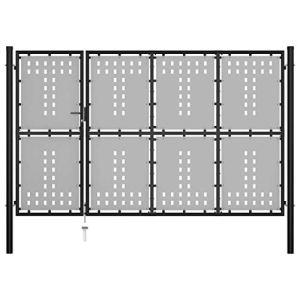 Festnight Portail de Clôture en Acier Portillon de Jardin ou Patio 350 x 175 cm Noir